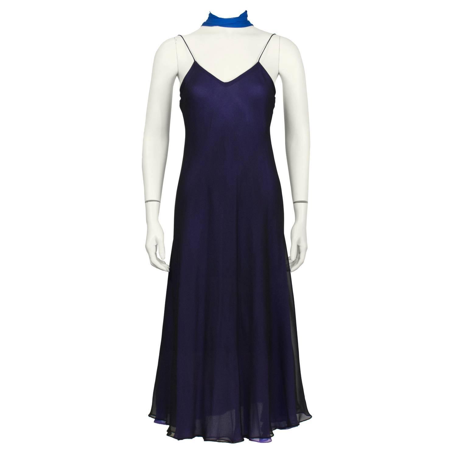 1970's George Stavropoulos Navy Slip Dress