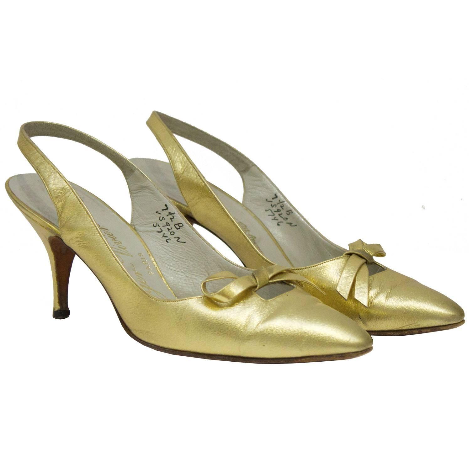 1950's Roger Vivier Gold Leather Slingbacks
