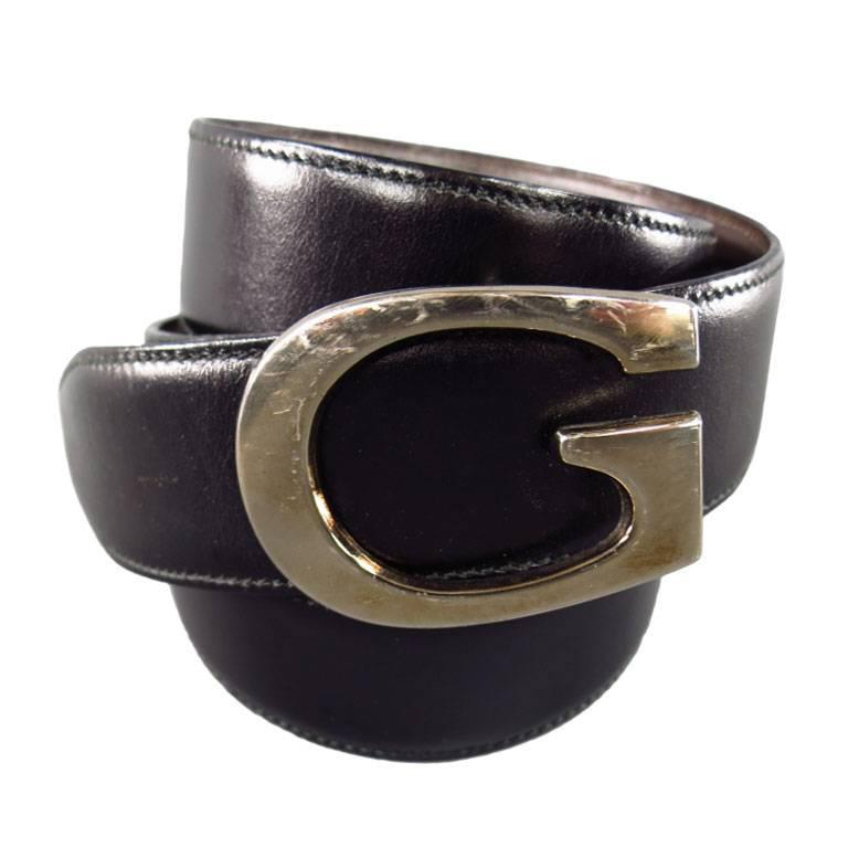 Completely new GUCCI 34W Black and Brown Leather Reversible Gold G Buckle Belt at  PW05