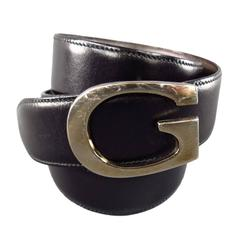 GUCCI 34W Black & Brown Leather Reversible Gold G Buckle Belt