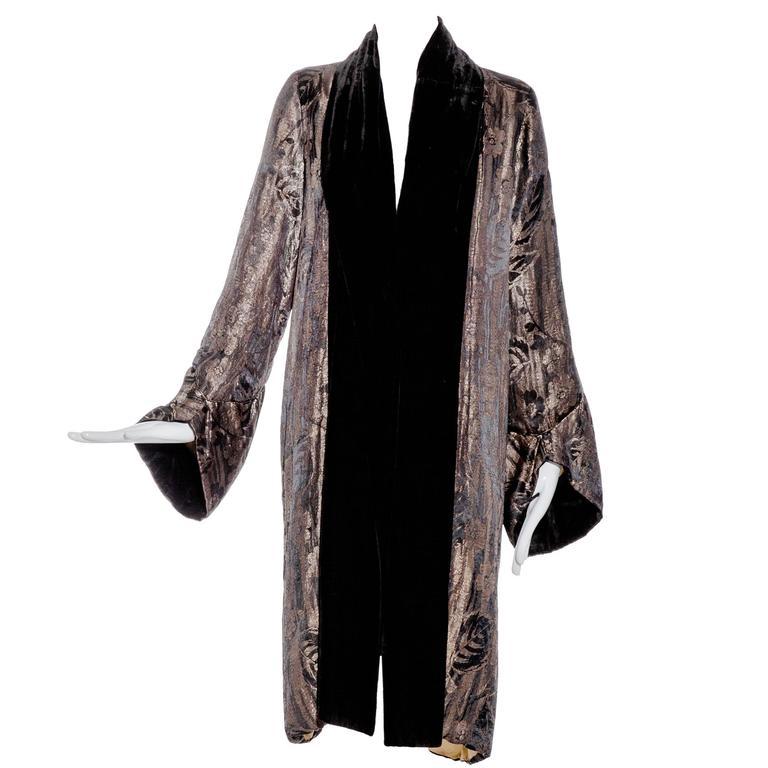 1920s Gold And Black Velvet Opera Coat At 1stdibs
