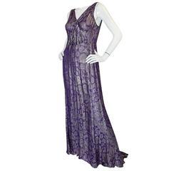 Rare & Extraordinary 1920s Purple & Gold Metallic Lame Gown