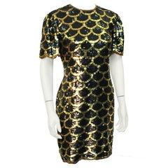 1970's Black and Gold Fishscale Sequin MIni Dress