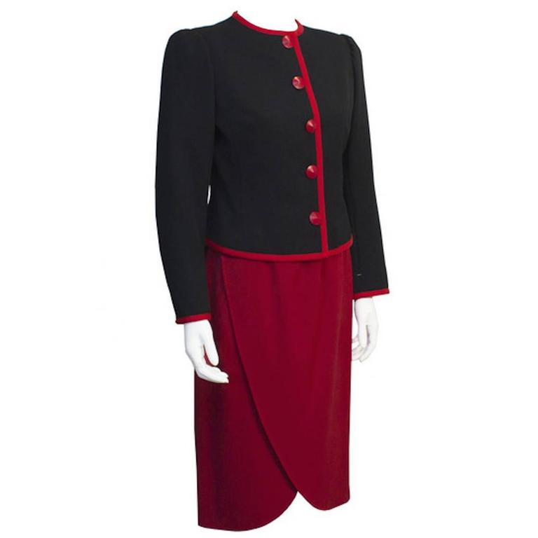 1980's Yves Saint Laurent YSL Red and Black Couture Label Suit