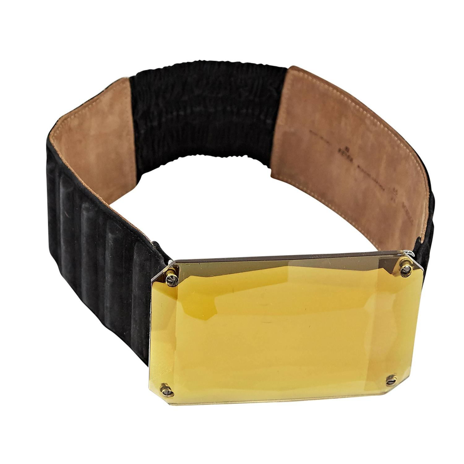 Black Fendi Suede Stretch Belt at 1stdibs