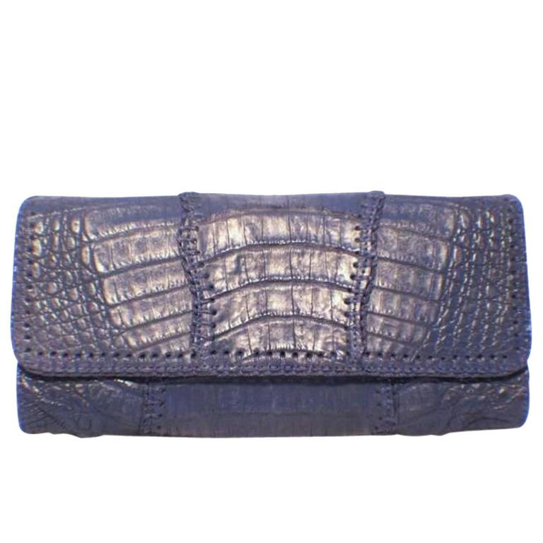 Carlos Falchi Blue Crocodile Patchwork Clutch 1