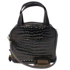 Lana Marks Black Patent Alligator Handbag
