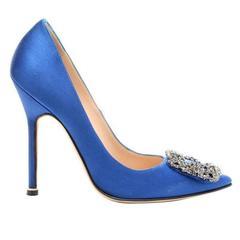 Manolo Blahnik Carrie Bradshaw Blue Satin Manolo Blahnik Crystal Pumps in Box
