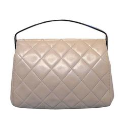 RARE Chanel Beige Quilted Leather Silver Handle Handbag