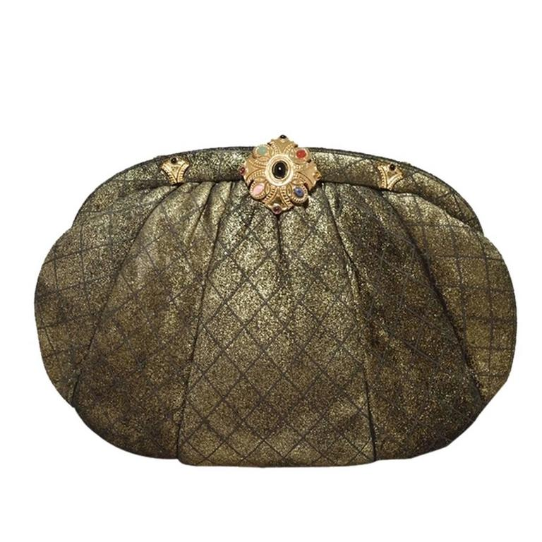 Judith Leiber Bronze Cross Hatch Stencil Suede Clutch For Sale