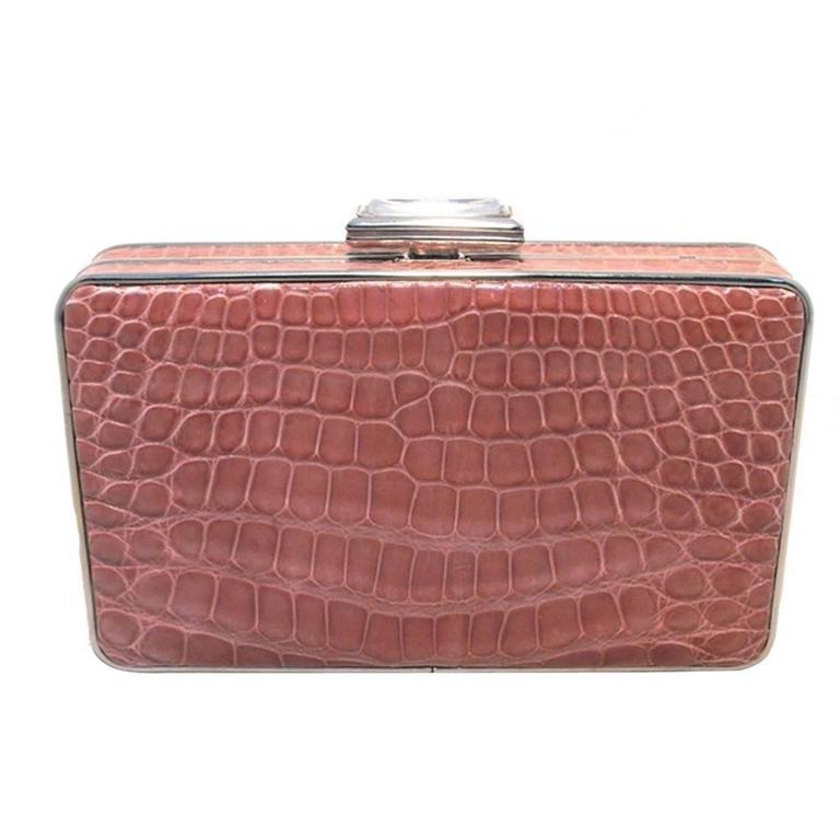 Judith Leiber Pink Alligator Box Clutch With Crystal Closure 1