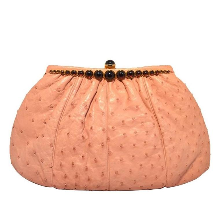 Judith Leiber Pink Ostrich Convertible Clutch For Sale