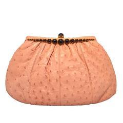 Judith Leiber Pink Ostrich Convertible Clutch