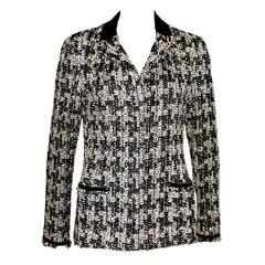 Gorgeous Chanel Fantasy Frayed Tweed Maison Lesage Leather Jacket