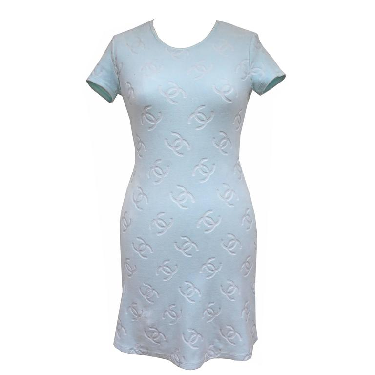 Chanel velour monogram baby blue dress, c. 1996 1