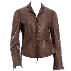 Ralph Rucci Chocolate Brown Python Jacket w Corset Lace Sides Spring 2004