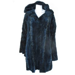 Hooded blue sheared mink fur cape
