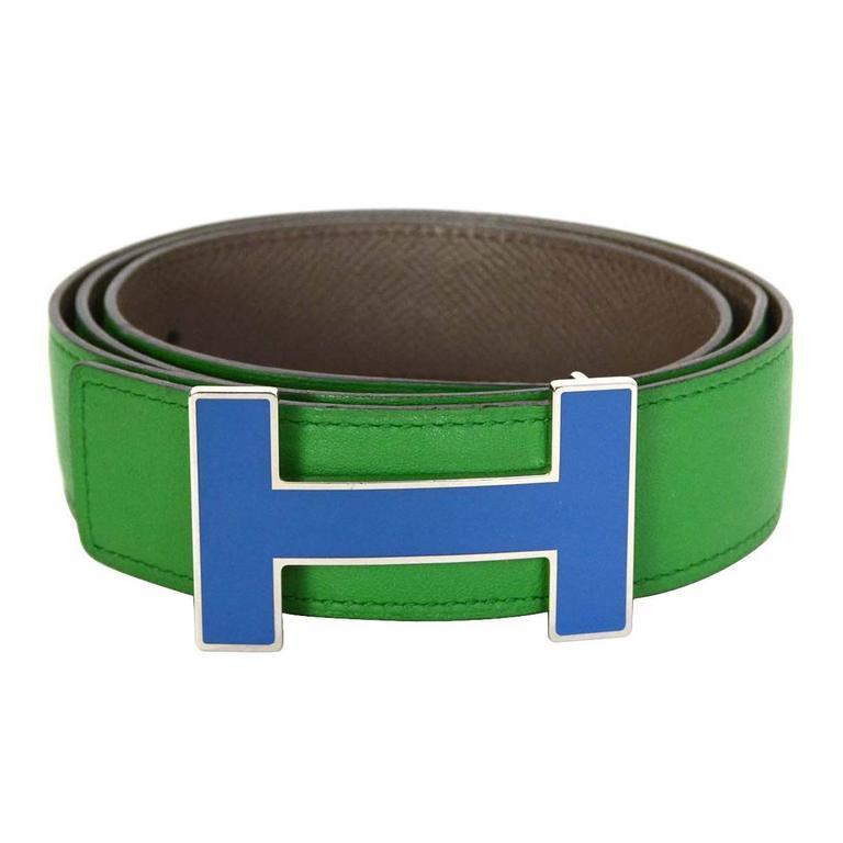 Hermes Bamboo Green & Grey Reversible 32mm Enamel H Belt Kit sz 85 1