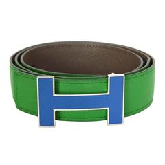 Hermes Bamboo Green & Grey Reversible H Belt sz 85 PHW