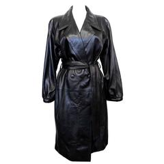 Collectable 1980's Yves Saint Laurent Black Leather Trench Coat