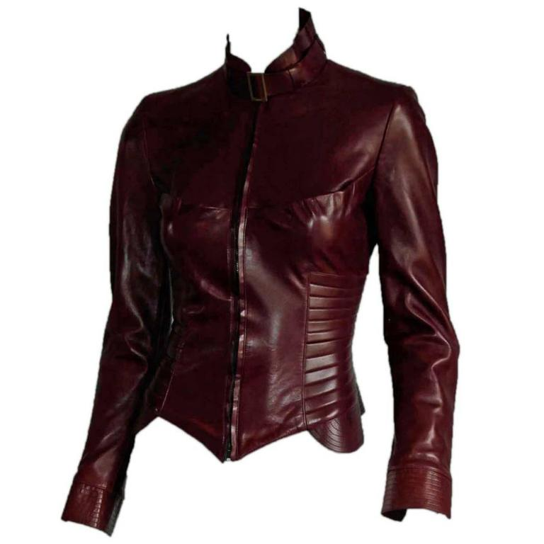 The Dreamiest Tom Ford Gucci FW 2003 Maroon Red Leather Corseted Moto Jacket! 1