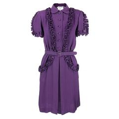 Andre Laug 1970s Purple Silk Day Dress