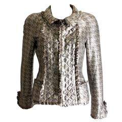 Superbe Chanel Quilted Silk Print Ruffled Jacket Maison Lesage