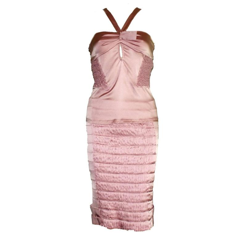 Gucci Tom Ford Spring 2004 Pink Ruched Silk Ensemble with Crystal Brooch