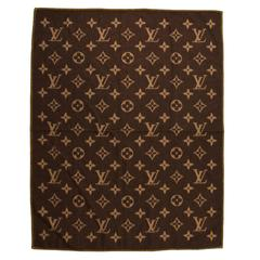 Louis Vuitton Monogram Brown Yellow LV Wool Angora Blend Throw Blanket In Box