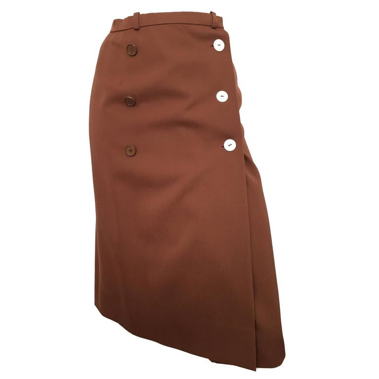 Valentino Boutique 70s Brown Wool Wrap Skirt Size 4.