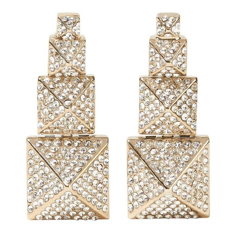 Valentino NEW Gold Crystal Stacked Chandelier Dangle Drop Statement Earrings 1