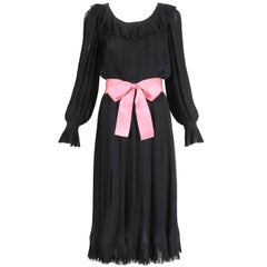1974 Christian Dior Haute Couture Black Silk Chiffon Pleated Dress No.00299I