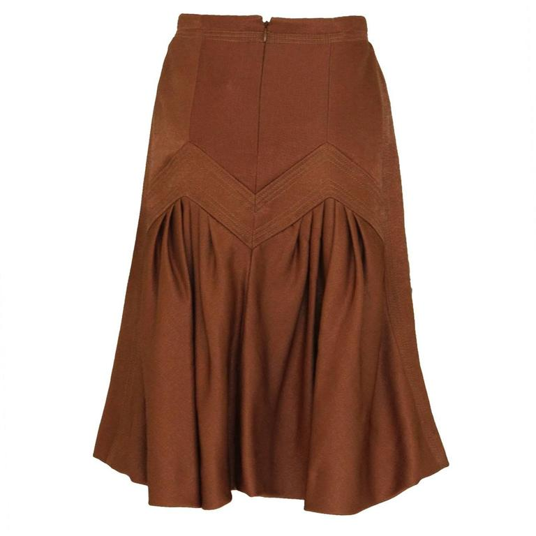 1990s Nina Ricci Bronze Skirt with Gathered  Back For Sale