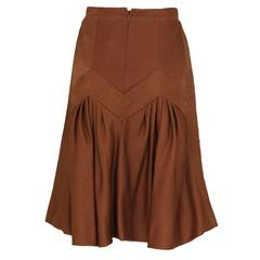 1990s Nina Ricci Bronze Skirt with Gathered  Back