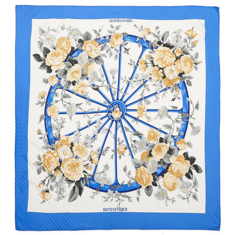 1970s 'Romantique' Hermes Pleated Silk Scarf For Sale