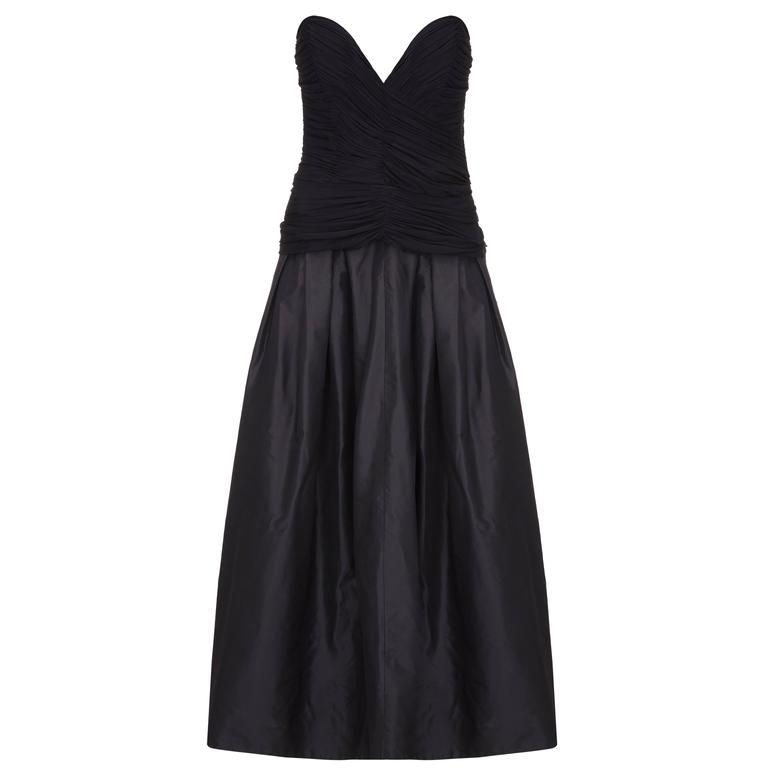 1980s Vicky Tiel Couture Strapless Black Dress