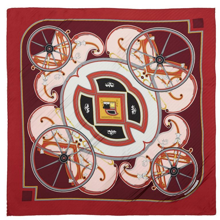 "1970s 'Washingtons Carriage"" Hermes Pleated Silk Scarf For Sale"