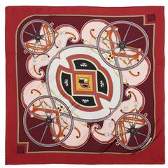"1970s 'Washingtons Carriage"" Hermes Pleated Silk Scarf"