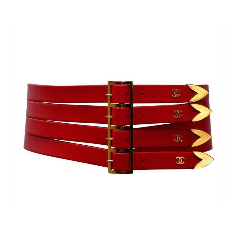 Chanel Red  Corset Belt New '90 1