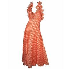 1970s Geoffrey Beene Silk Halter Gown
