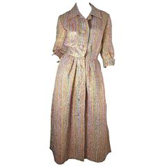 1950s Christian Dior Gold Lame + Multicolored Dress