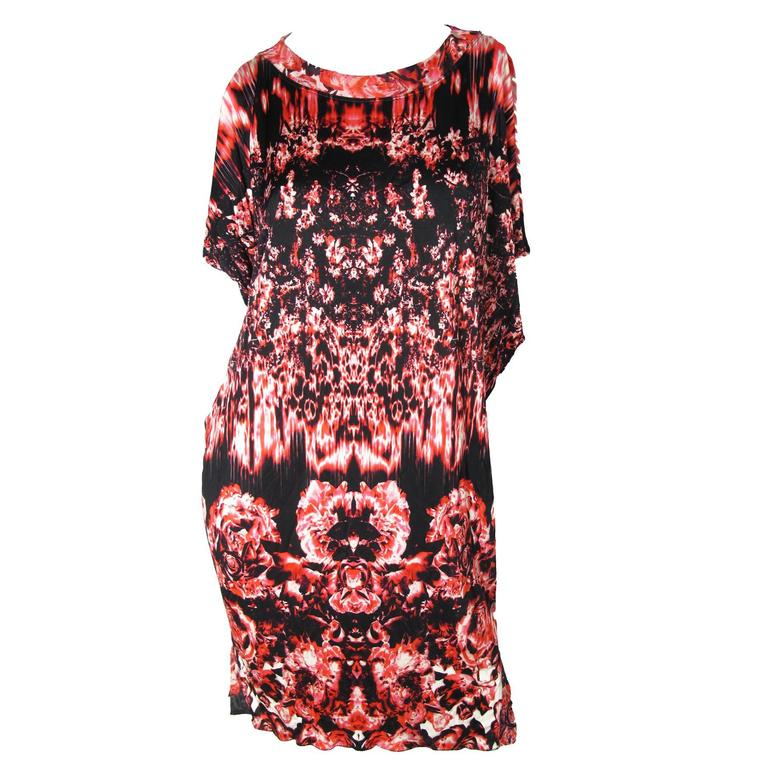 Jean Paul Gaultier Printed Roses and Fire sleeveless Dress  For Sale