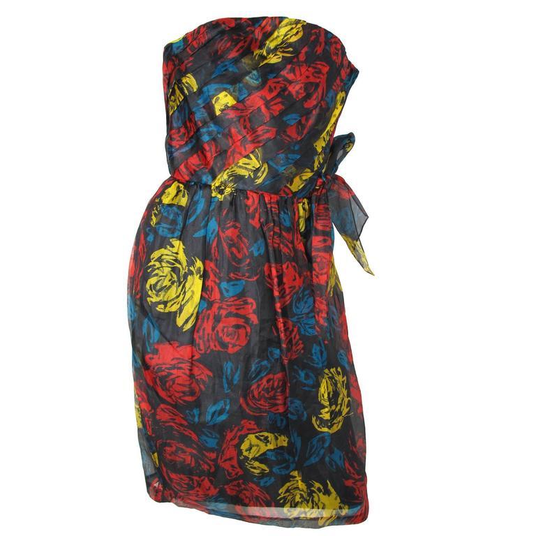 Albert Nipon Silk Strapless Cocktail Dress