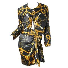 1990s Moschino Faucet Suit with Rope Tassel Belt