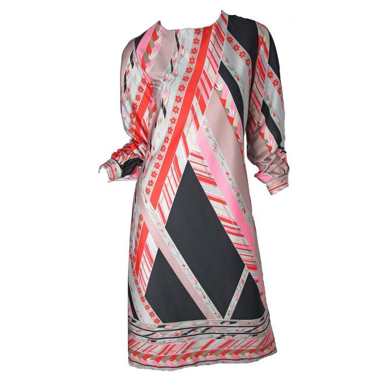 1960s Lanvin Geometric Print Dress