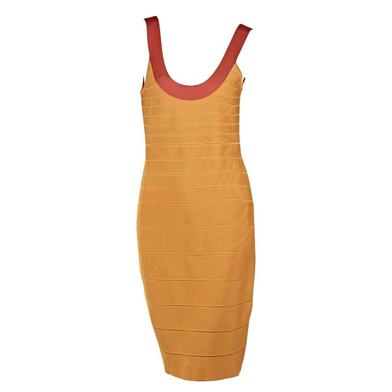 Yellow & Orange Herve Leger Bandage Dress 1