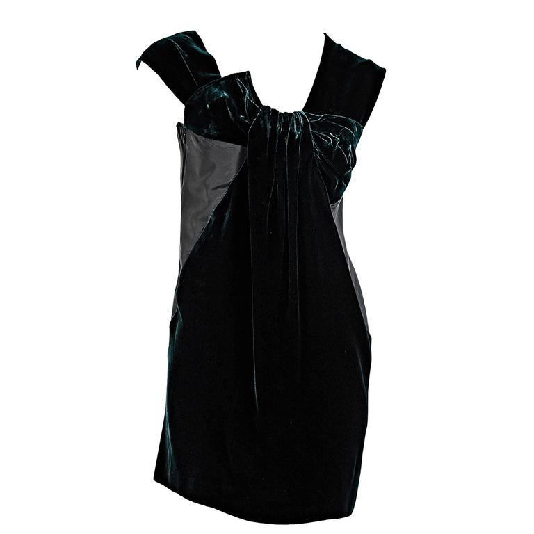 Miu Miu Green Velvet & Black Silk Bow Dress