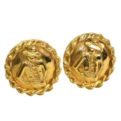 Chanel Vintage Gold Mademoiselle Round Button Stud Earrings