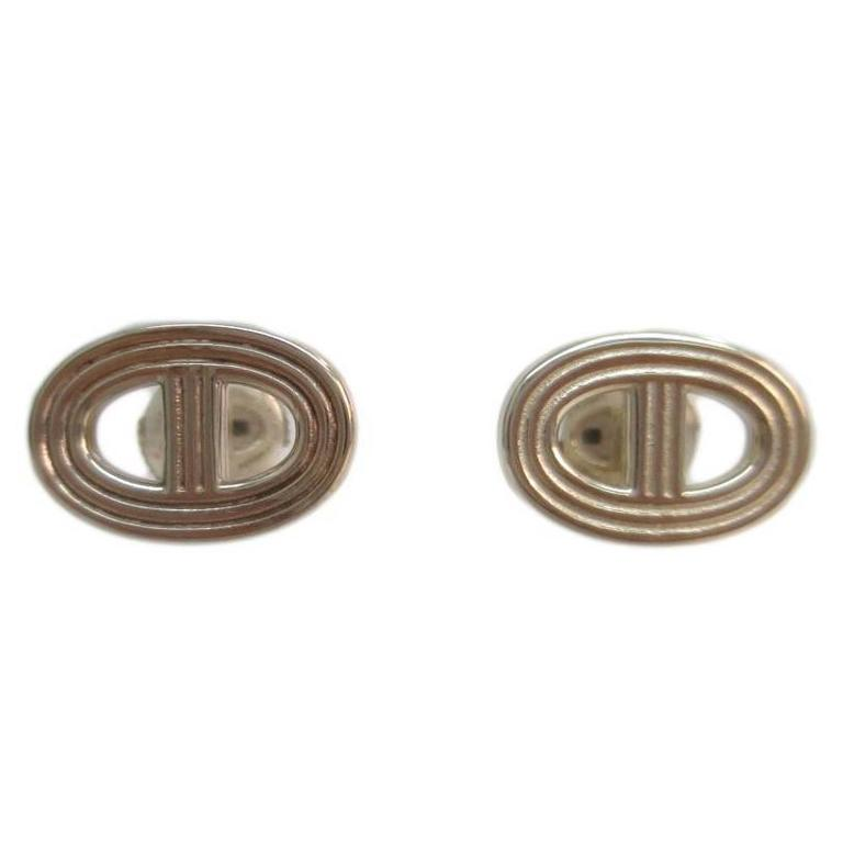 Bijoux Fantaisie Napier : Hermes sterling silver round stud earrings in box at stdibs