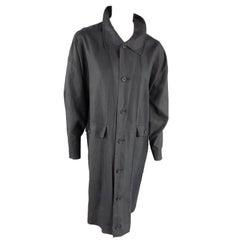 Eskandar Charcoal Linen Overcoat, One Size